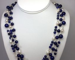 3011 Lapis & Pearl Sterling Necklace