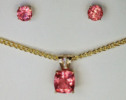 3014 Rhodochrosite Pendant & Earrings Set 1