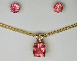 3014 Rhodochrosite Pendant & Earrings Set 1
