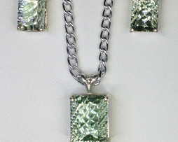 5021 Prasiolite Pendant & Earrings Set 1
