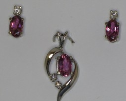 5048 Pink Tourmaline White Gold Pendant & Earrings