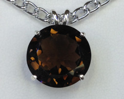 5091 Smoky Quartz CO Round Sterling Pendant