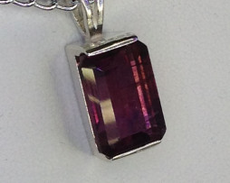 5117 Rhodolite Garnet Rectangle Sterling Pendant 1