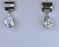 4084 White Topaz Dangle Sterling Earrings 1