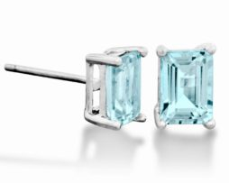 Colorado Aquamarine Rectangle Sterling Earrings Birthstone