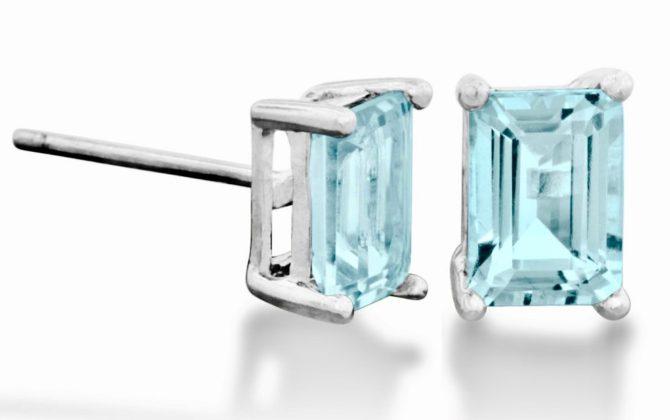 Colorado Aquamarine Rectangle Sterling Earrings Birthstone