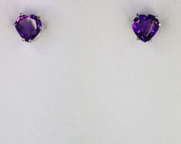 4088a Amethyst AZ Hearts Sterling Earrings