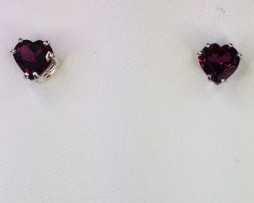 4089a Rhodolite Garnet Heart Sterling Earrings