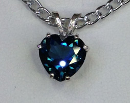 5131 a London Blue Topaz Heart Sterling Pendant