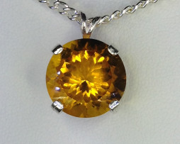 5151a Citrine 14mm Round Sterling Pendant