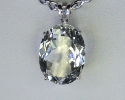 5156a White Topaz CO 16x12mm Oval Sterling Pendant