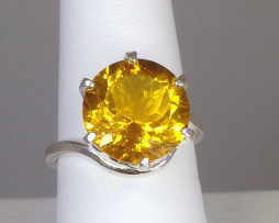 6040a Citrine 12mm Round Sterling Ring