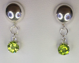 4107a Peridot AZ 7mm Round Sterling Dangle Earrings