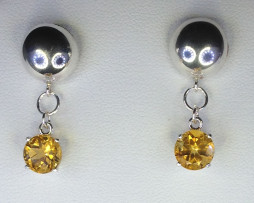 4110a Golden Citrine 8mm Round Sterling Dangle Earrings