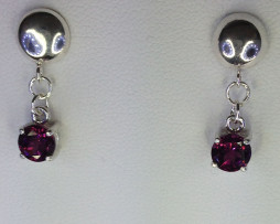 4114a Rhodolite Garnet 6mm Round Sterling Dangle Earrings