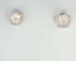 4128a Rose Quartz CO 9mm Round Sterling Earrings