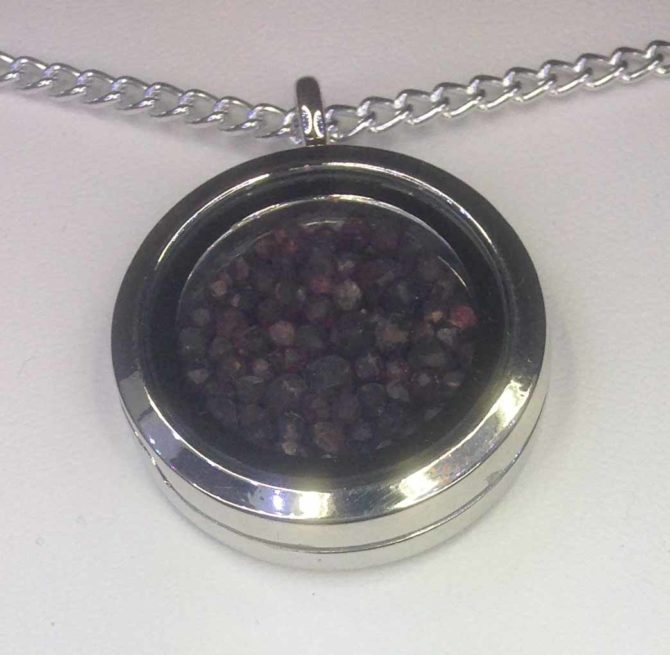 Almandite Garnet in a Sterling Silver Locket