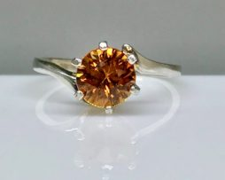 Orange Zircon Sterling Silver Ring