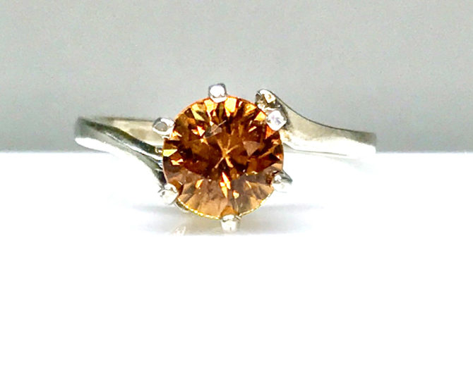 6050d Orange Zircon Sterling Ring