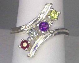 6063a Four Gem Mother's Ring Sterling