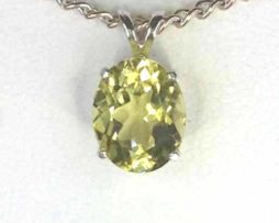 5192a Lemon Quartz 11x9 Oval Sterling Pendant