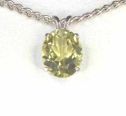 5192b Lemon Quartz 11x9 Oval Sterling Pendant