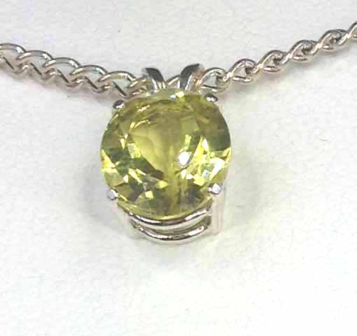 5192c Lemon Quartz 11x9 Oval Sterling Pendant