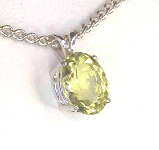 5192d Lemon Quartz 11x9 Oval Sterling Pendant