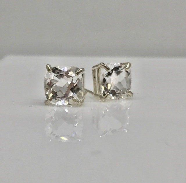 Colorado White topaz set in Sterling Silver Post Earrings