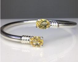 2010ba Citrine Twins Sterling Silver Bracelet