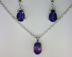 3021a Lightening Ridge Opal Oval Sterling Silver Set