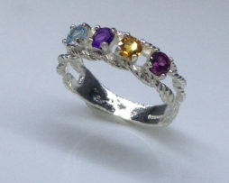 Mothers Ring Sterling Silver Birthstone