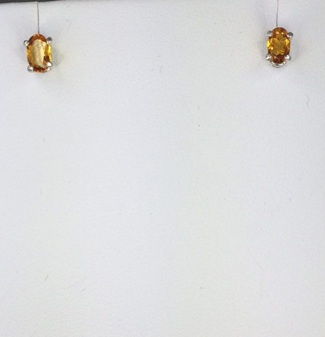 Citrine 5x3 Oval Sterling Earrings