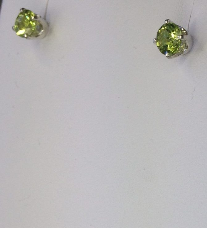 Peridot 5mm Round Sterling Earrings