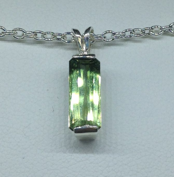 Green Tourmaline Sterling Silver Pendant