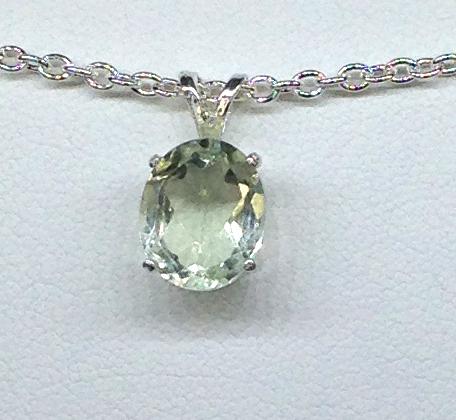 5267c Brazilian Prasiolite Sterling Silver Pendant