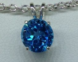 Swiss Blue Topaz from Brazil set in a Sterling Silver Pendant
