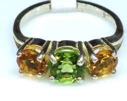6110a Peridot & Citrine 3 Stone Sterling Ring