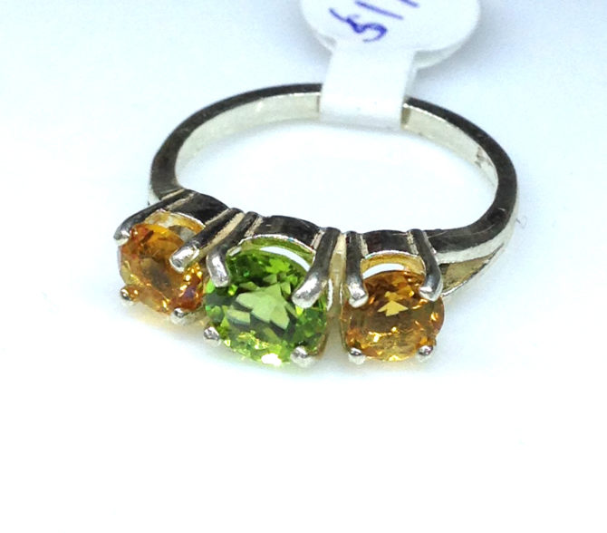 6110c Peridot & Citrine Round Sterling Ring