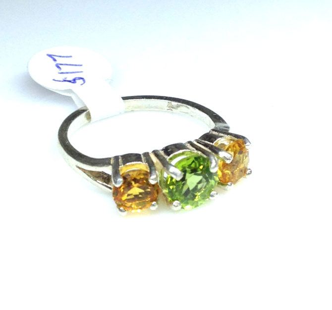 6110d Peridot & Citrine Round Sterling Ring