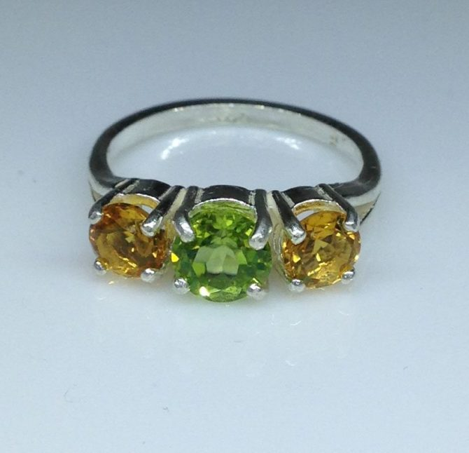 Peridot and Citrine in a Sterling Silver Ring