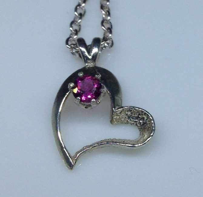 Rubellite Tourmaline in a Sterling Silver Heart-shaped Pendant