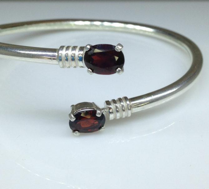 Mozambique Garnet Twins Sterling Bangle Bracelet