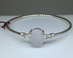 Rose Quartz 18x13 Oval Bangle Bracelet