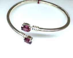 Rhodolite Garnet Oval Sterling Bracelet