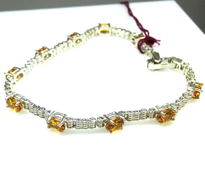 Citrine Oval Sterling Bracelet