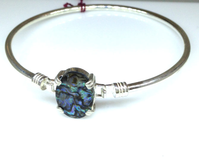 Paua Shell Oval Sterling Bracelet