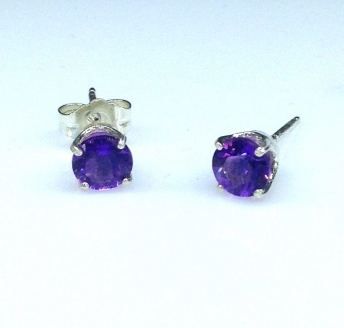 Amethyst Arizona Round Sterling Silver Earrings