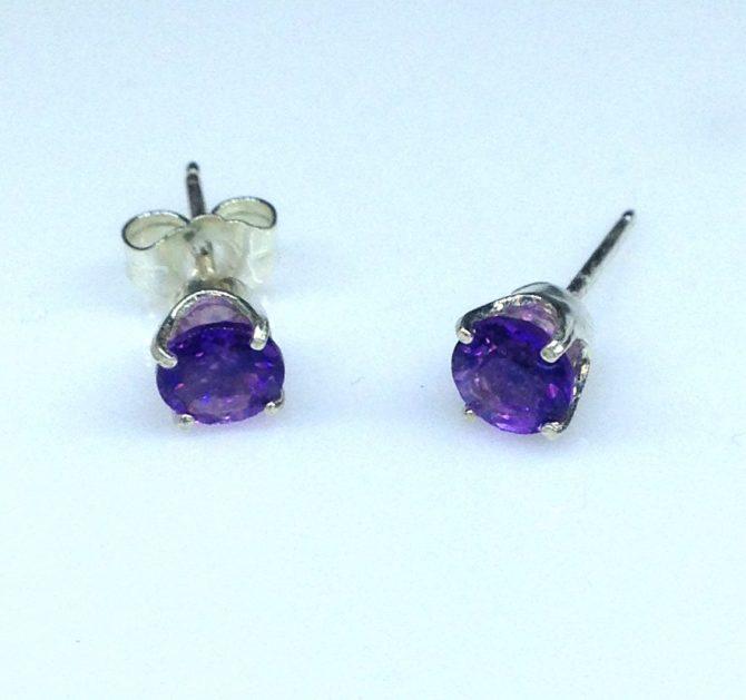Amethyst Arizona Round Sterling Silver Earrings