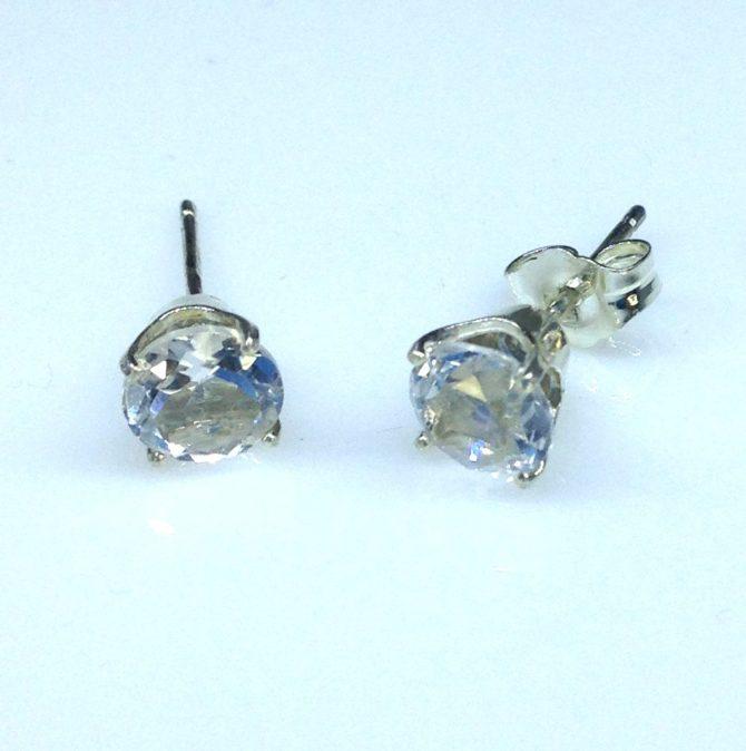 White Topaz Round Sterling Earrings